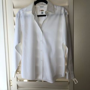 NWT Talbots White Collared Button Down Long Sleeve